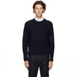 Navy Wool Aran Cable 4-Bar Sweater