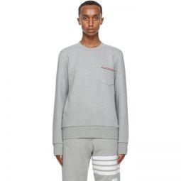 Grey Stripe Pocket Classic Sweatshirt