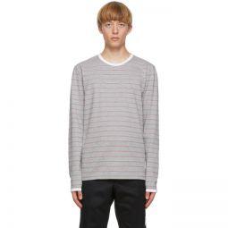 Grey Hairline Stripe Ringer T-Shirt