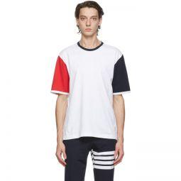 White Contrast Sleeve Ringer T-Shirt
