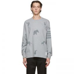 Grey Jersey 4-Bar Icon Print Long Sleeve T-Shirt
