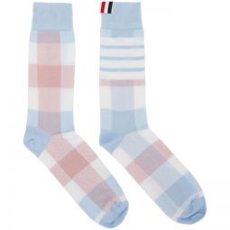 Blue & Pink 4-Bar Check Mid-Calf Socks