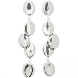 Silver Scattered Oval Earrings