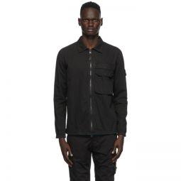 Black Brushed Canvas Zip-Up Overshirt