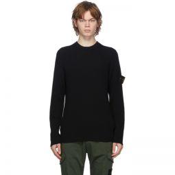 Black Rib Knit Crewneck Sweater