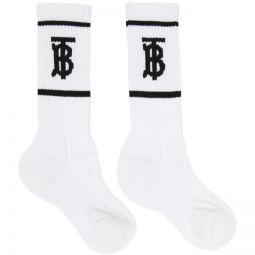 White Intarsia Monogram Socks