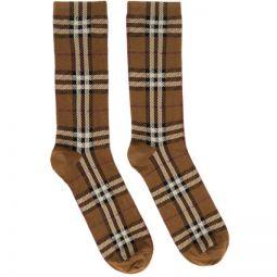 Brown Intarsia Check Socks