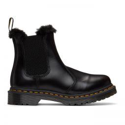 Black 2976 Leonore Faux Fur Lined Chelsea Boots