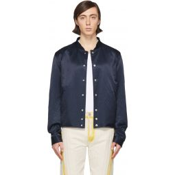 Lanvin Reversible Navy Satin Bomber Jacket