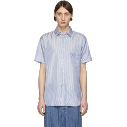 Comme des Garons Shirt Blue & White Striped Cupro Short Sleeve Shirt