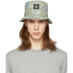 Stone Island Green Camouflage Logo Bucket Hat