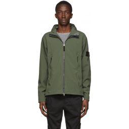 Stone Island Khaki Soft Shell Hooded Jacket