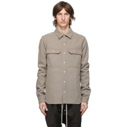 Rick Owens Grey Wool Outershirt Jacket