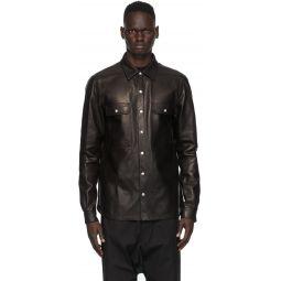 Rick Owens Black Leather Outer Shirt Jacket