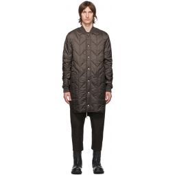 Rick Owens Taupe Quilted Liner Coat