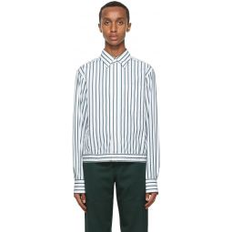 Lanvin White & Blue Stripe Shirt