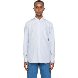 Comme des Garons Shirt Blue & White Striped Panelled Shirt