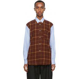 Comme des Garons Shirt Blue & Brown Wool Front Panel Shirt