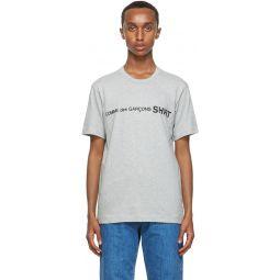 Comme des Garons Shirt Grey Cotton Logo T-Shirt