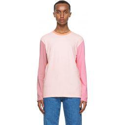 Comme des Garons Shirt Pink & Orange Colorblock Logo Long Sleeve T-Shirt