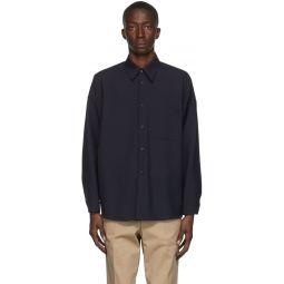 Marni Navy Tropical Wool Shirt