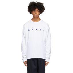 Marni White Light Cotton Front Logo Long Sleeve T-Shirt