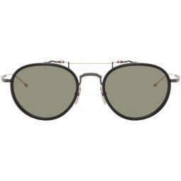 Thom Browne Black & Gold Round TBS815 Sunglasses