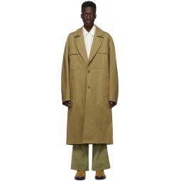 Kenzo Khaki Cotton Long Coat