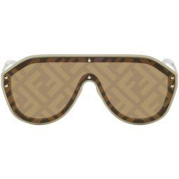 Fendi Beige 'Forever Fendi' Shield Sunglasses