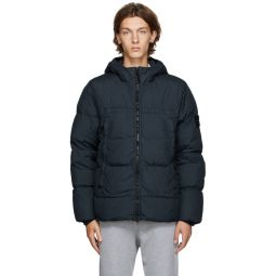 Stone Island Navy Down Garment-Dyed Jacket