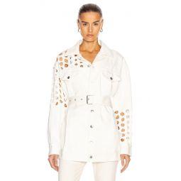 Cutout Long Sleeve Belted Jacket