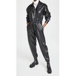 Vegan Leather 80s Waisted Jumpsuit