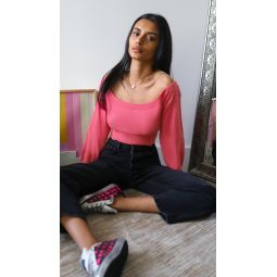 Fitted Cropped Pullover With Sheer Yoke
