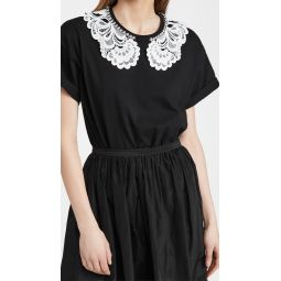 Lace and Jewel Collar Tee