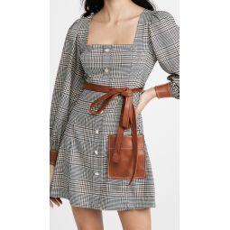 Oz Plaid Faux Leather Trim Dress