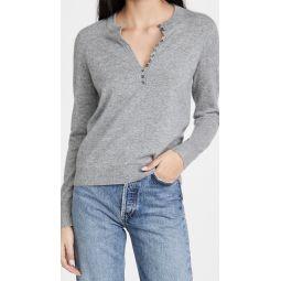 Button Placket Henley Cashmere Sweater