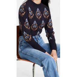 Embellished Block Print Sweater