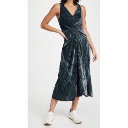 Ruched Paneled V Neck Dress