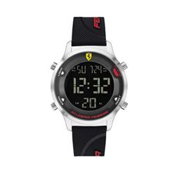 Ferrari Mens Digitrack Quartz Watch with Silicone Strap, Black, 18 (Model: 0830756)