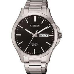 Citizen Quartz Black Dial Stainless Steel Mens Watch BF2001-80E