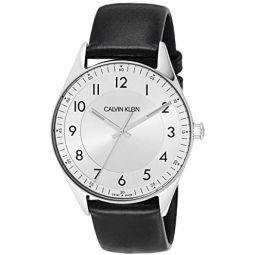 Calvin Klein Bright Mens Analogue Black Leather Strap Watch