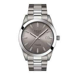 Tissot Mens Gentleman Titanium case Swiss Quartz Dress Watch Strap, Grey, 21 (Model: T1274104408100)