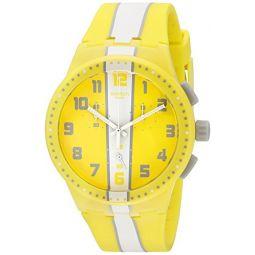Swatch Mens SUSJ100 Chronoplastic-Amorgos Analog Display Quartz Yellow Watch