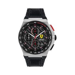 Ferrari Mens Stainless Steel Quartz Watch with Leather and Silicone Strap, Black, 18 (Model: 0830791)