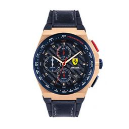 Ferrari Mens Stainless Steel Quartz Watch with Leather and Silicone Strap, Blue, 18 (Model: 0830793)
