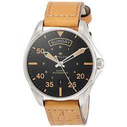 Hamilton H64645531 Khaki Aviation Day Date Mens Watch Tan Leather 42mm