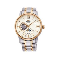 Orient RA-AS0001S10A Mens 2-Tone Stainless Steel Gold Dial Sun and Moon Open Heart Automatic Watch
