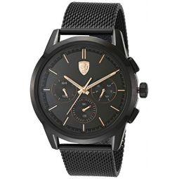 Ferrari Mens Quartz Watch with Stainless Steel Strap, Black, 22 (Model: 830807)