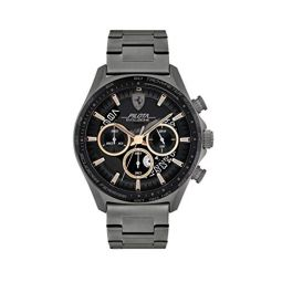 Ferrari Mens Quartz Watch with Stainless Steel Strap, Grey, 22 (Model: 0830824)