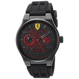 Ferrari Mens Speciale Stainless Steel Quartz Watch with Rubber Strap, Black, 25 (Model: 830431)